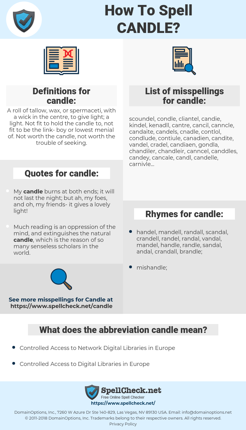 candle, spellcheck candle, how to spell candle, how do you spell candle, correct spelling for candle