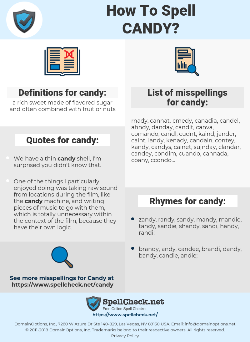 candy, spellcheck candy, how to spell candy, how do you spell candy, correct spelling for candy