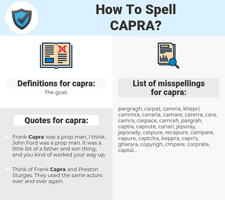 capra, spellcheck capra, how to spell capra, how do you spell capra, correct spelling for capra