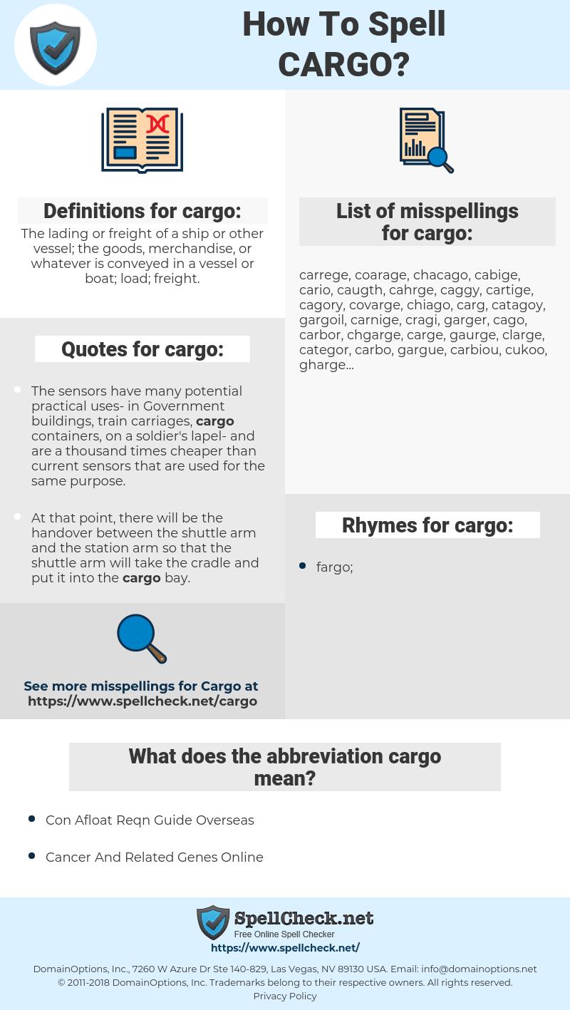 cargo, spellcheck cargo, how to spell cargo, how do you spell cargo, correct spelling for cargo