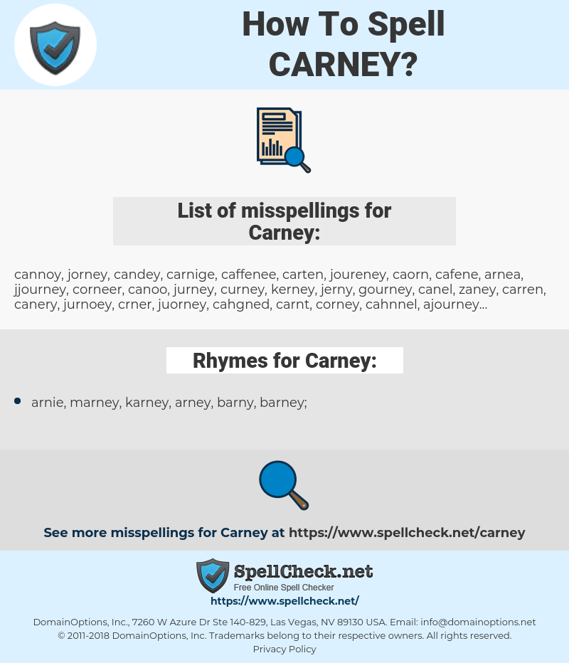 Carney, spellcheck Carney, how to spell Carney, how do you spell Carney, correct spelling for Carney