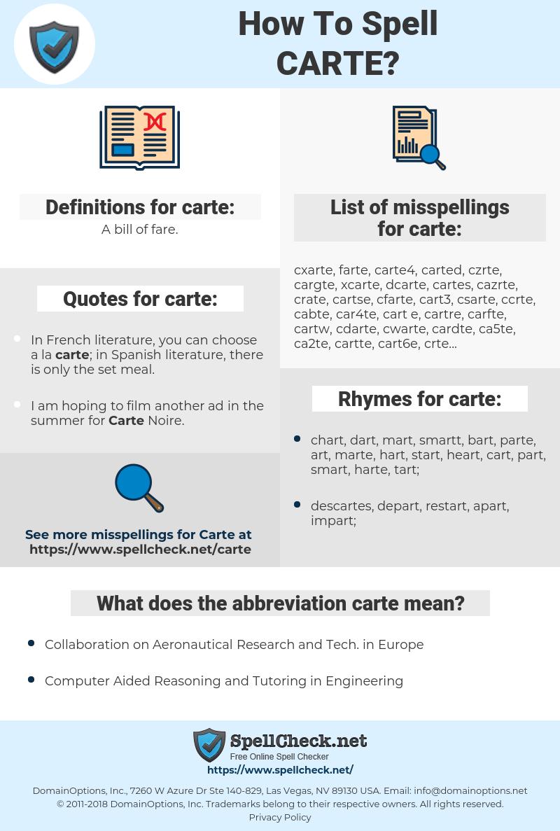 carte, spellcheck carte, how to spell carte, how do you spell carte, correct spelling for carte