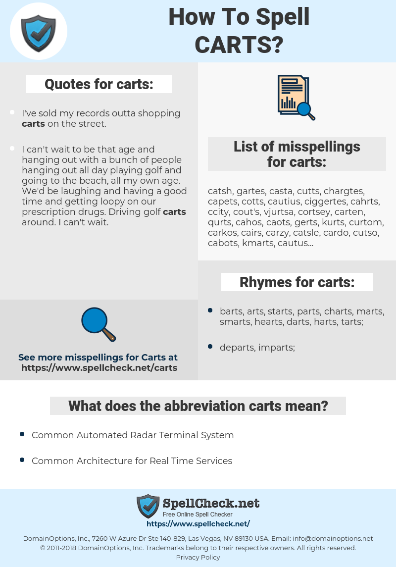 carts, spellcheck carts, how to spell carts, how do you spell carts, correct spelling for carts