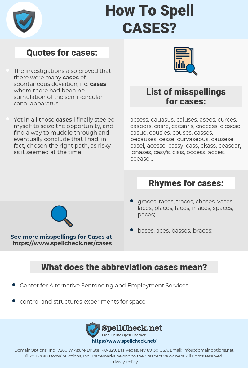 cases, spellcheck cases, how to spell cases, how do you spell cases, correct spelling for cases