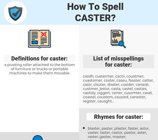 caster, spellcheck caster, how to spell caster, how do you spell caster, correct spelling for caster