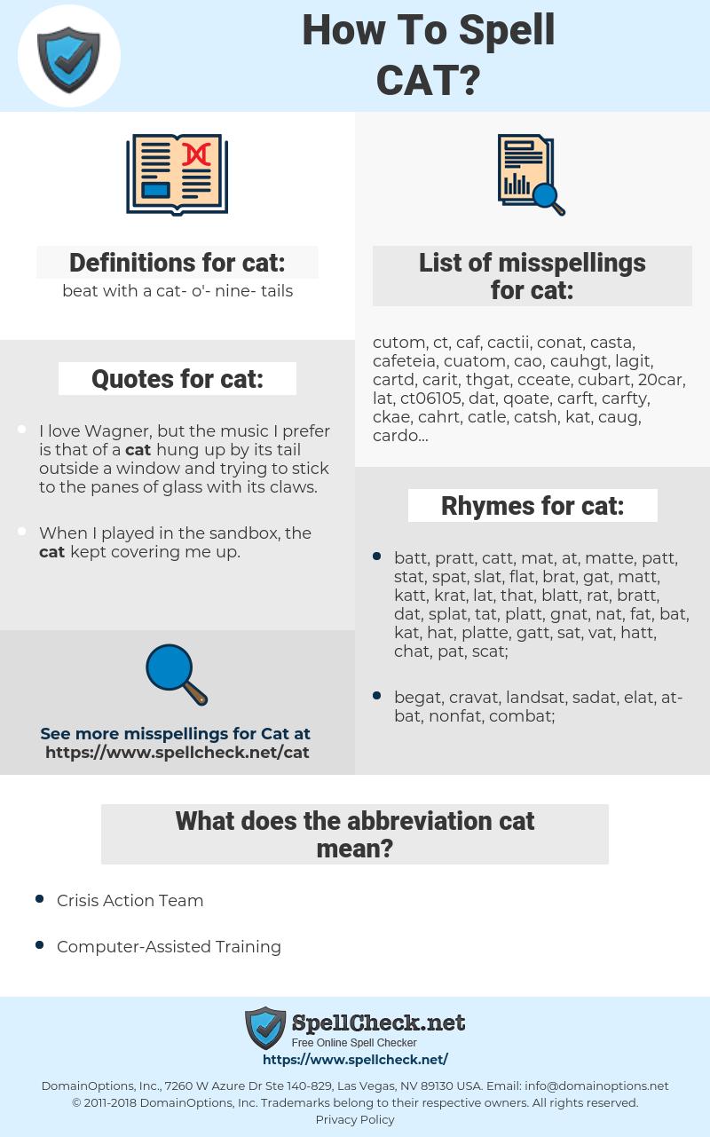 cat, spellcheck cat, how to spell cat, how do you spell cat, correct spelling for cat
