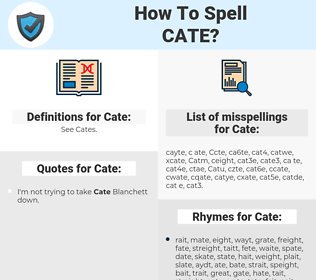 Cate, spellcheck Cate, how to spell Cate, how do you spell Cate, correct spelling for Cate