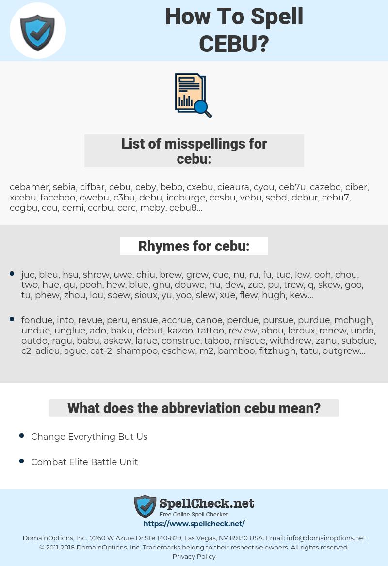 cebu, spellcheck cebu, how to spell cebu, how do you spell cebu, correct spelling for cebu