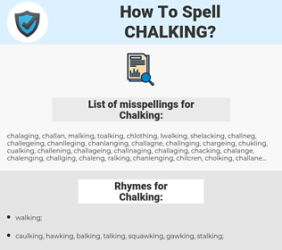 Chalking, spellcheck Chalking, how to spell Chalking, how do you spell Chalking, correct spelling for Chalking