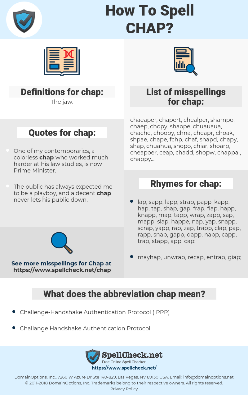 chap, spellcheck chap, how to spell chap, how do you spell chap, correct spelling for chap