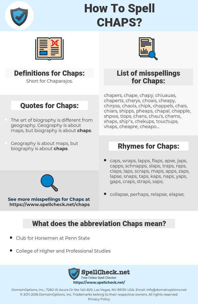 Chaps, spellcheck Chaps, how to spell Chaps, how do you spell Chaps, correct spelling for Chaps