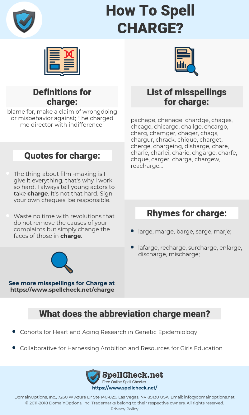 charge, spellcheck charge, how to spell charge, how do you spell charge, correct spelling for charge