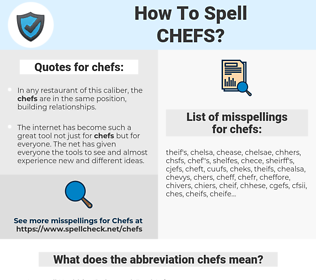 chefs, spellcheck chefs, how to spell chefs, how do you spell chefs, correct spelling for chefs