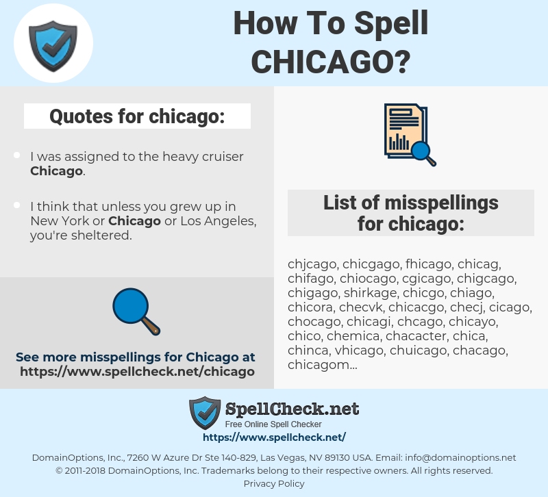 chicago, spellcheck chicago, how to spell chicago, how do you spell chicago, correct spelling for chicago