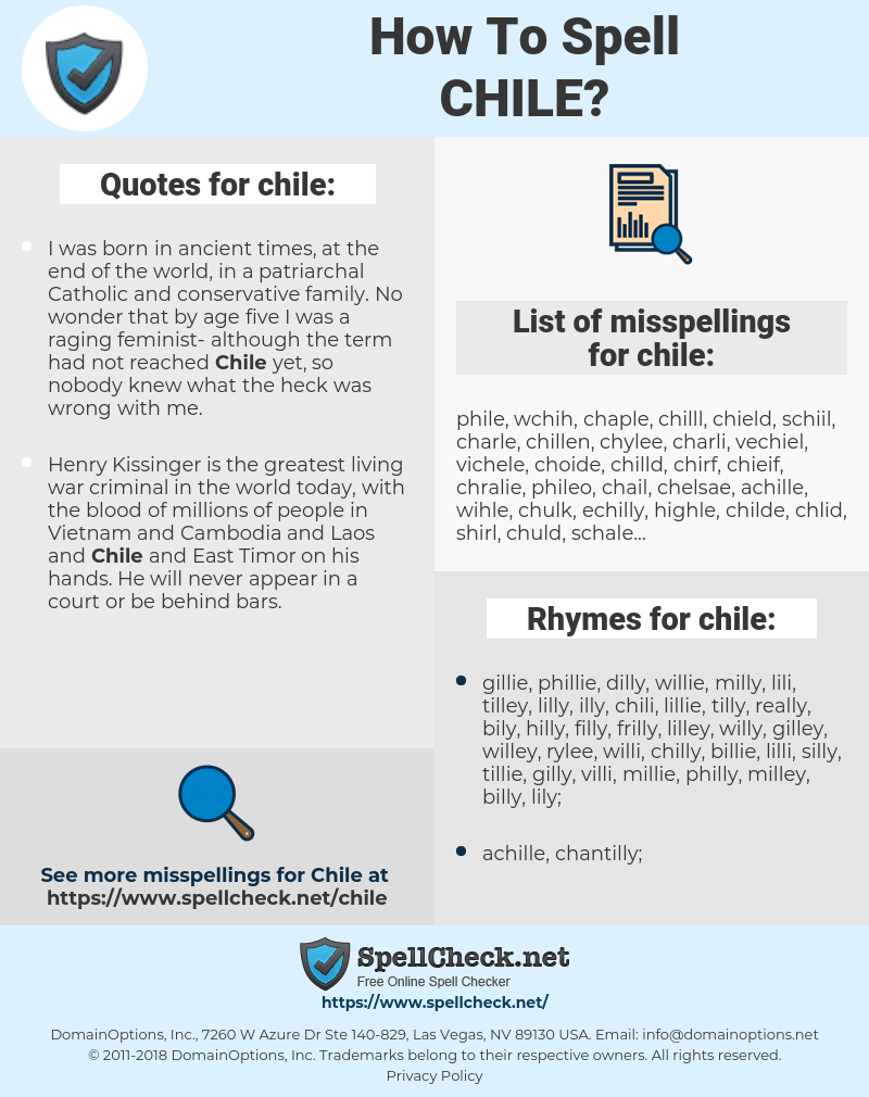chile, spellcheck chile, how to spell chile, how do you spell chile, correct spelling for chile