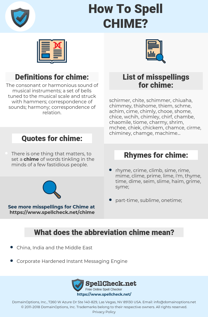 chime, spellcheck chime, how to spell chime, how do you spell chime, correct spelling for chime
