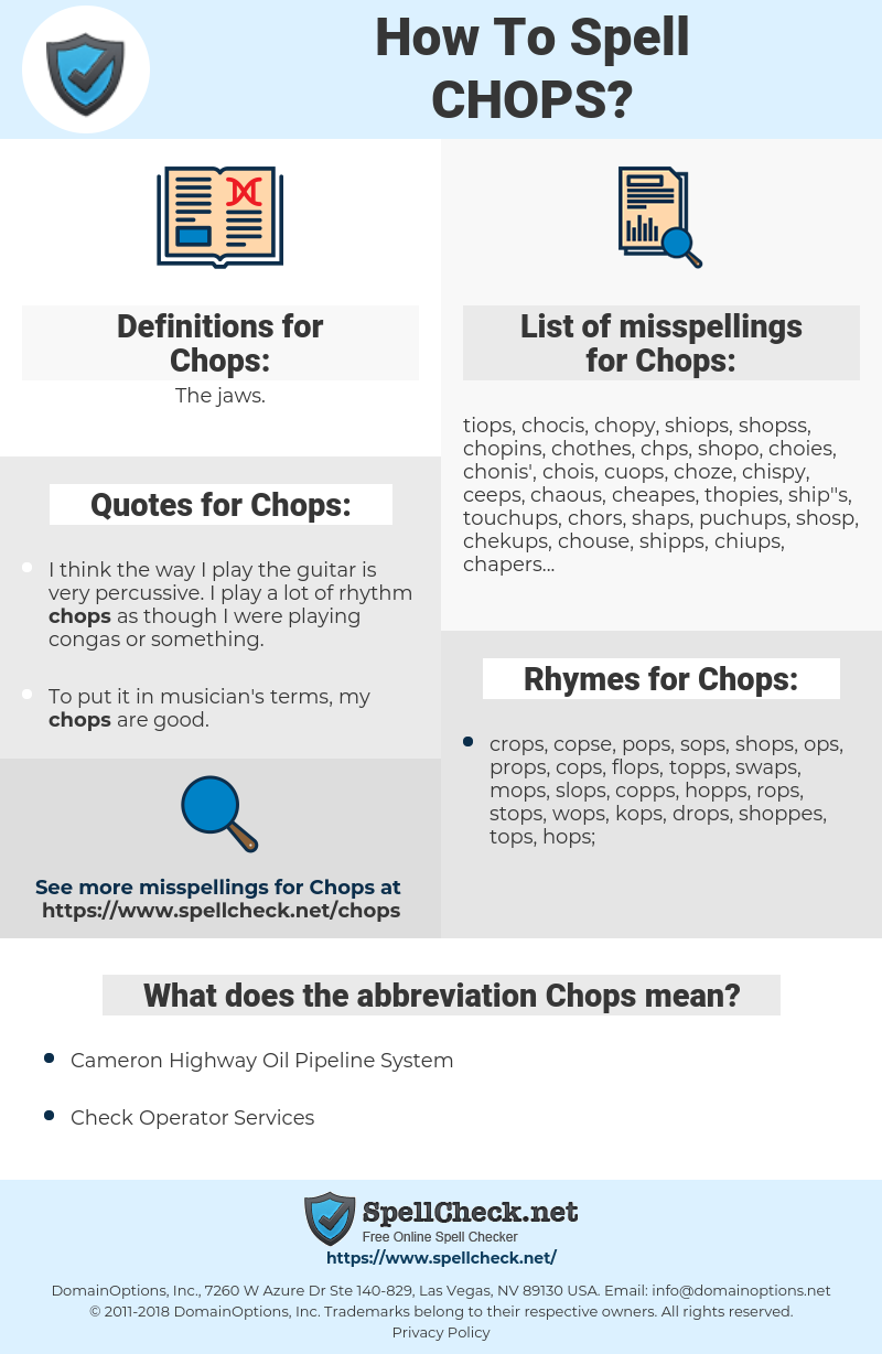 Chops, spellcheck Chops, how to spell Chops, how do you spell Chops, correct spelling for Chops
