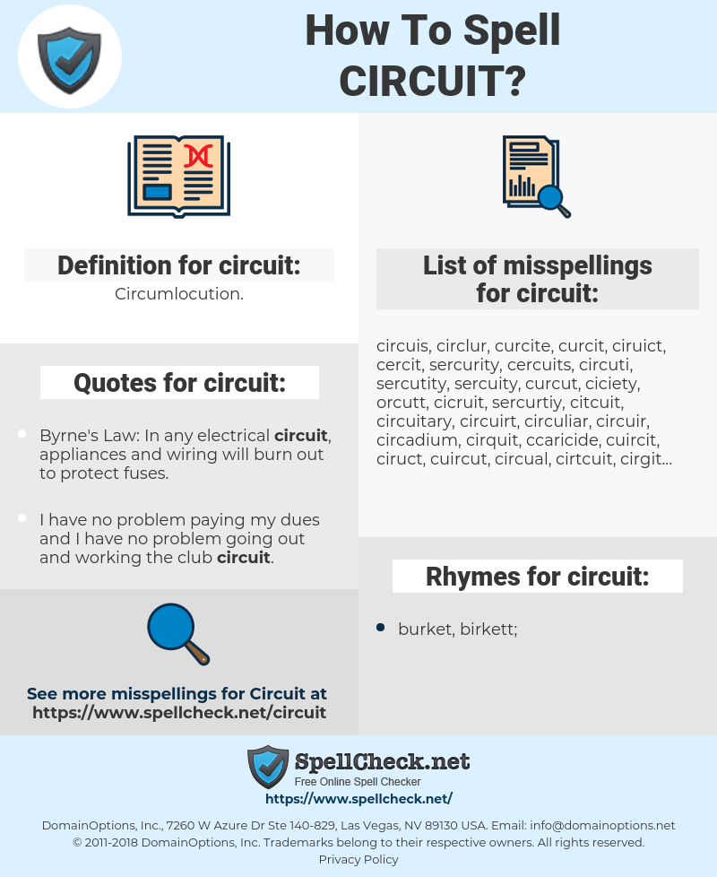 circuit, spellcheck circuit, how to spell circuit, how do you spell circuit, correct spelling for circuit