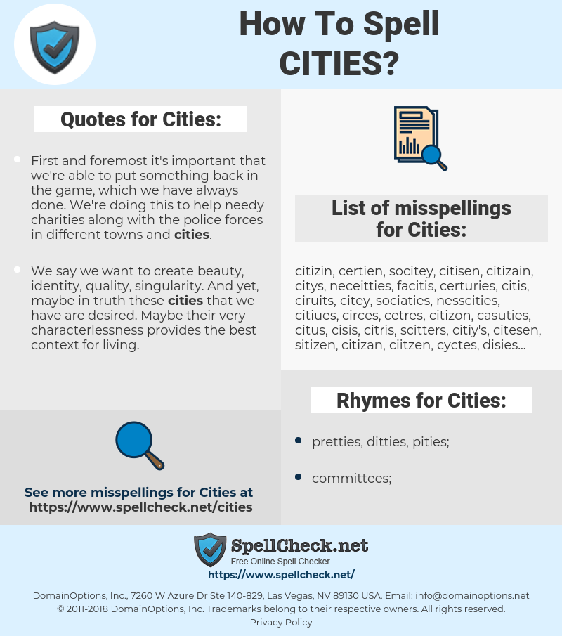 Cities, spellcheck Cities, how to spell Cities, how do you spell Cities, correct spelling for Cities
