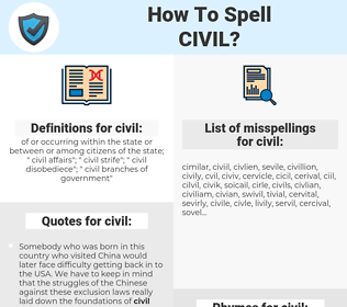 civil, spellcheck civil, how to spell civil, how do you spell civil, correct spelling for civil
