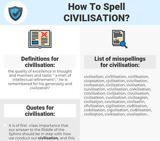 civilisation, spellcheck civilisation, how to spell civilisation, how do you spell civilisation, correct spelling for civilisation