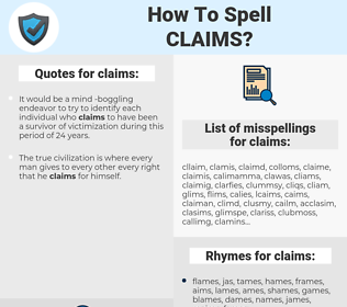 claims, spellcheck claims, how to spell claims, how do you spell claims, correct spelling for claims