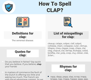 clap, spellcheck clap, how to spell clap, how do you spell clap, correct spelling for clap