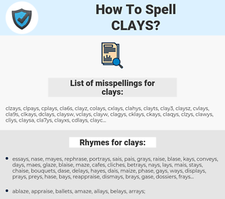 clays, spellcheck clays, how to spell clays, how do you spell clays, correct spelling for clays