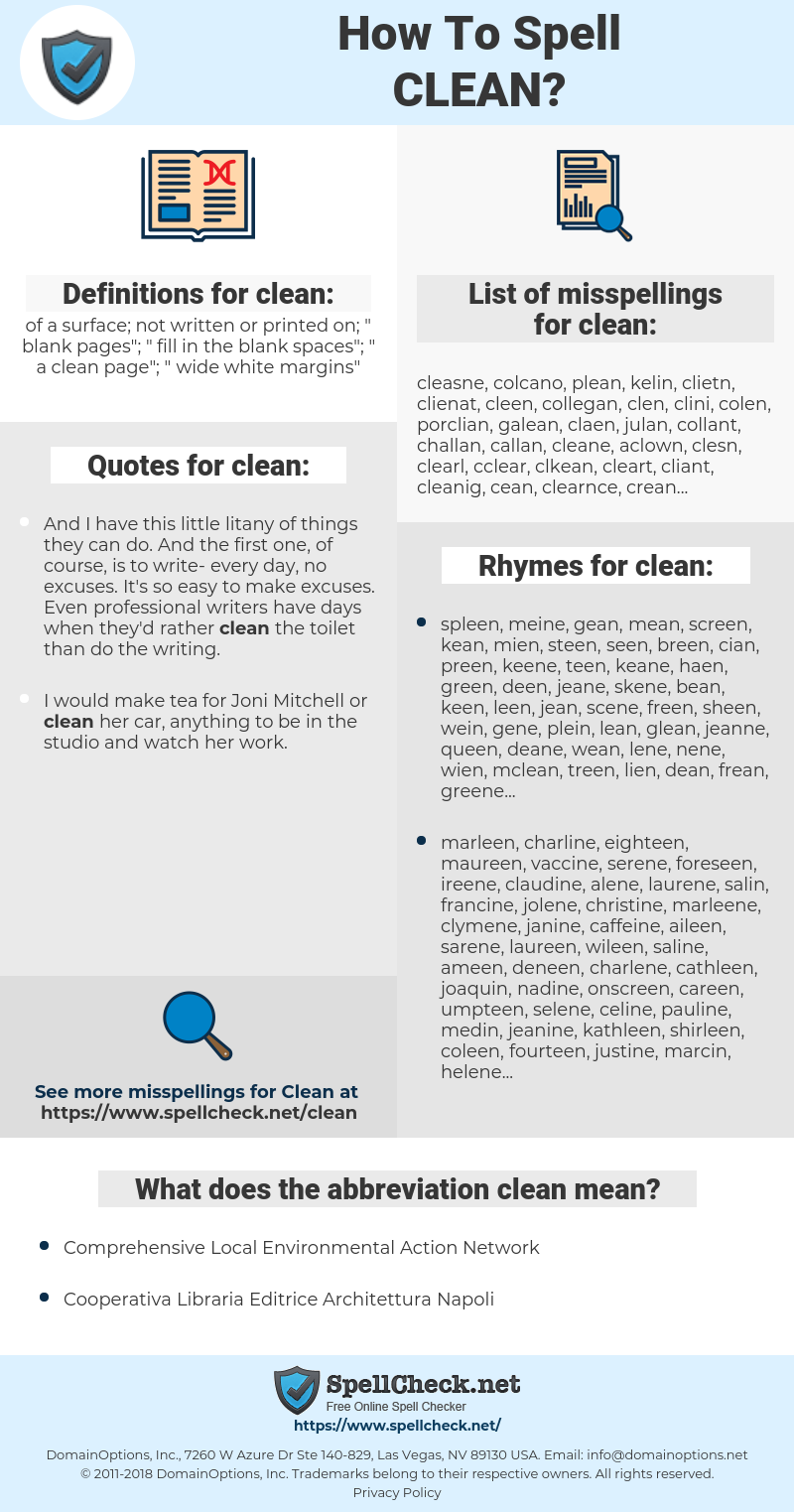 clean, spellcheck clean, how to spell clean, how do you spell clean, correct spelling for clean