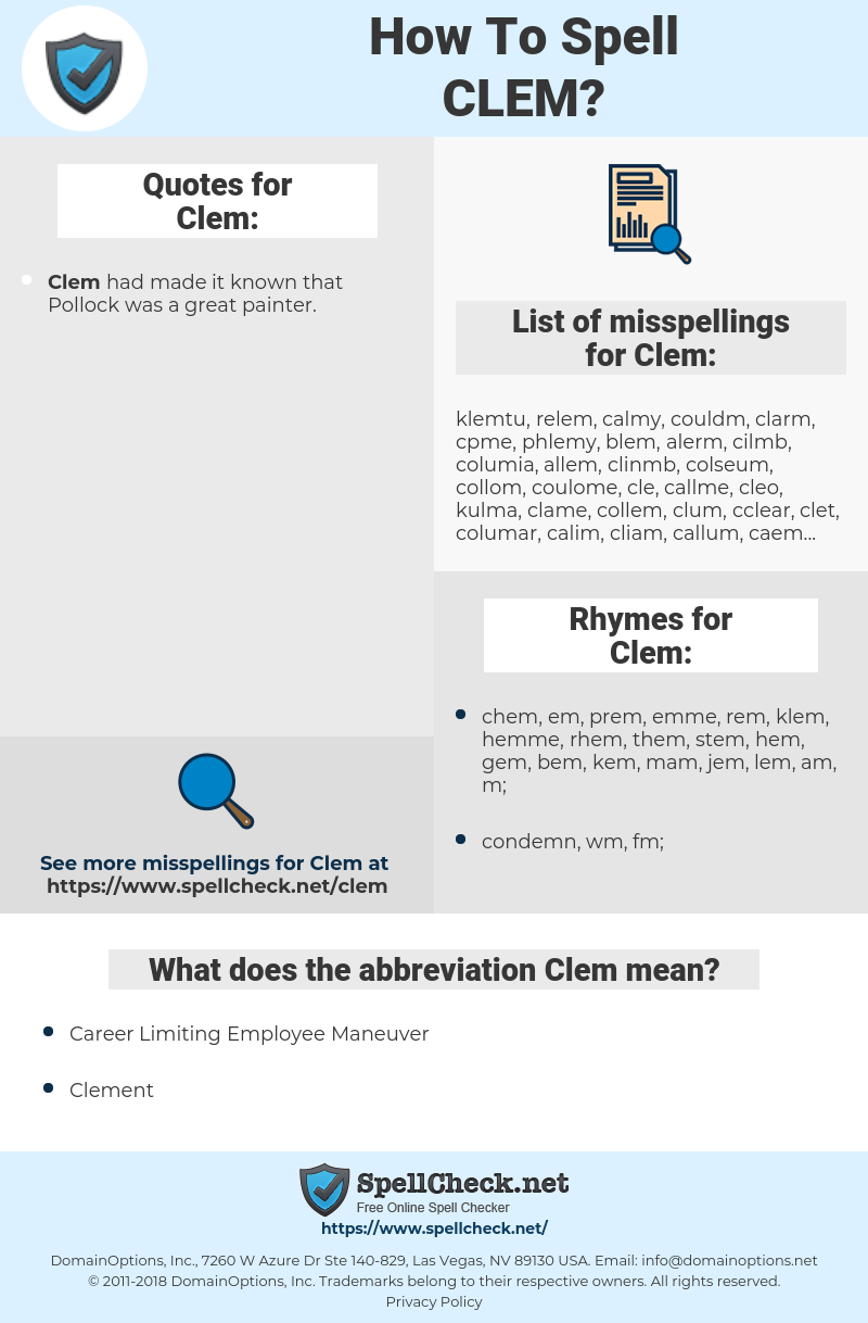 Clem, spellcheck Clem, how to spell Clem, how do you spell Clem, correct spelling for Clem