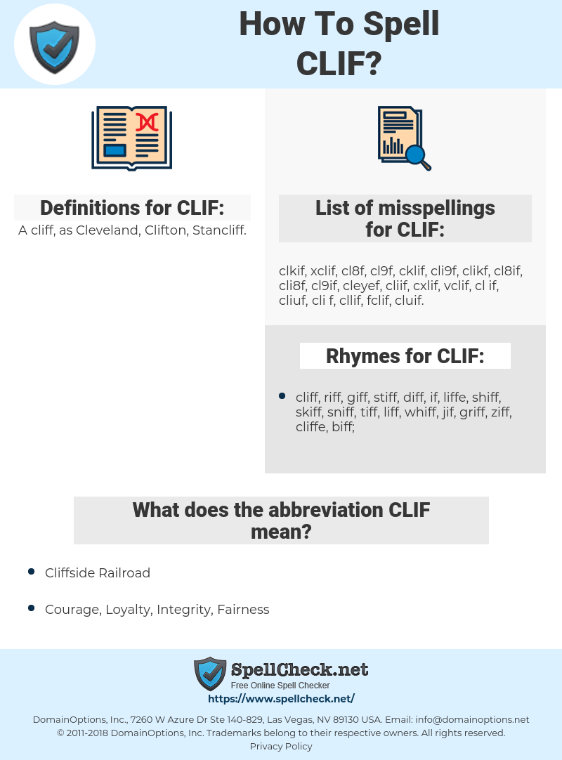 CLIF, spellcheck CLIF, how to spell CLIF, how do you spell CLIF, correct spelling for CLIF