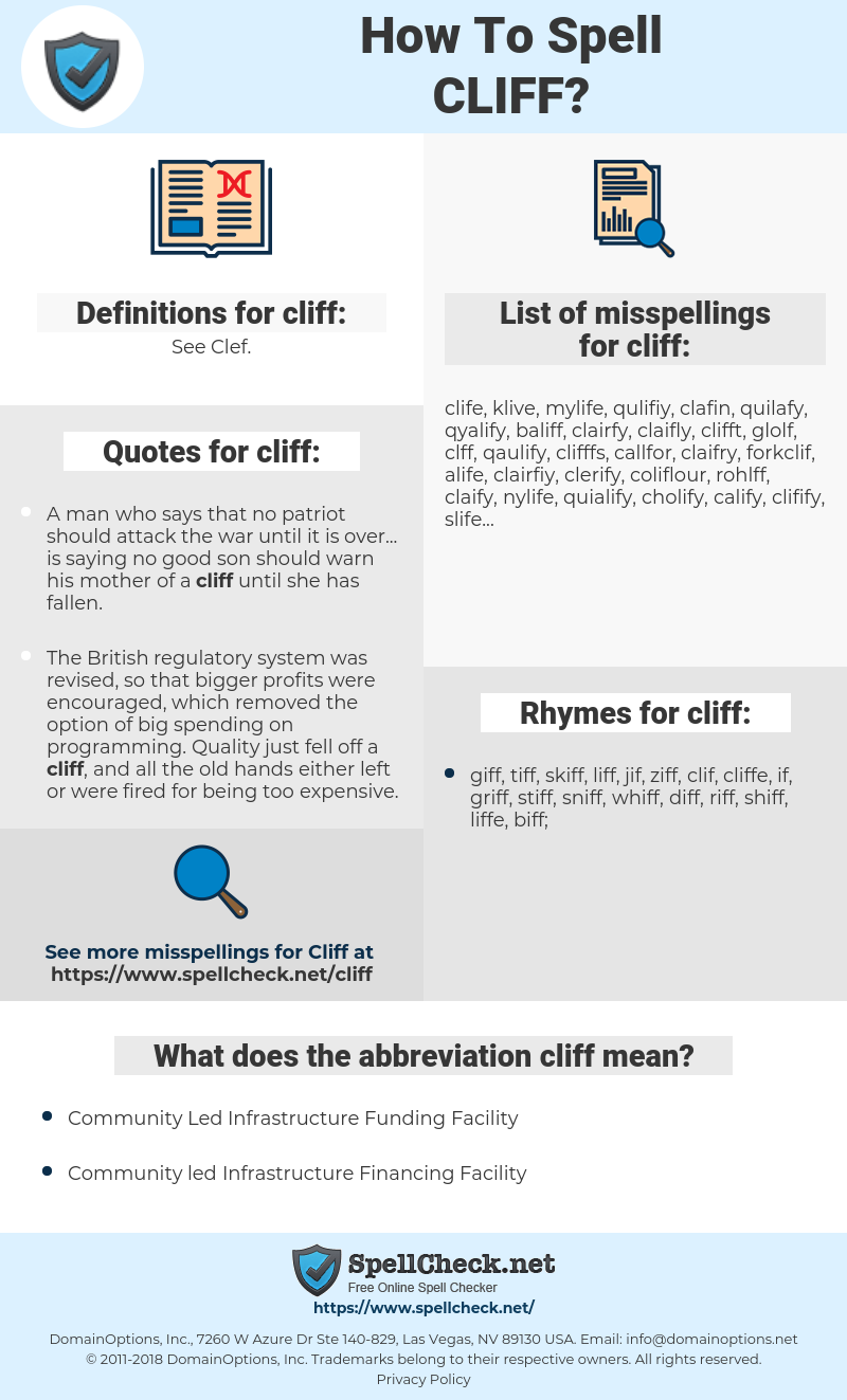 cliff, spellcheck cliff, how to spell cliff, how do you spell cliff, correct spelling for cliff
