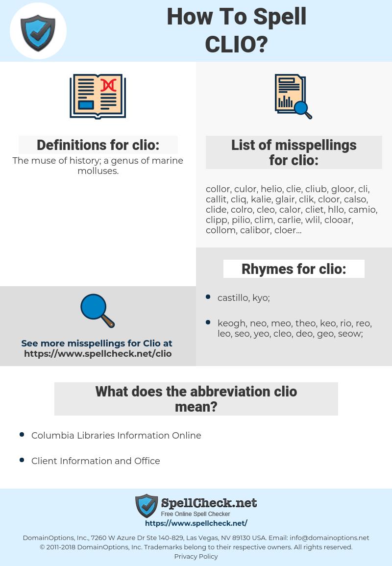 clio, spellcheck clio, how to spell clio, how do you spell clio, correct spelling for clio
