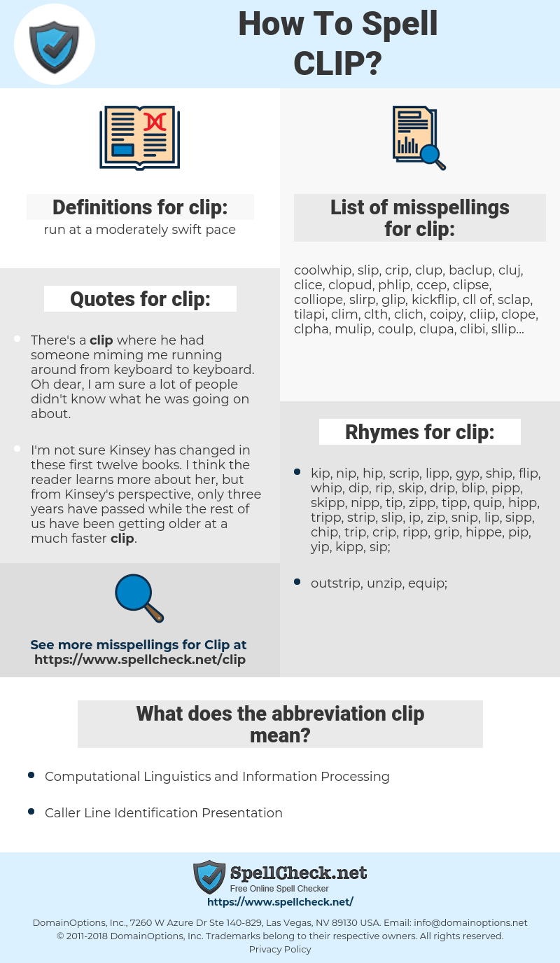 clip, spellcheck clip, how to spell clip, how do you spell clip, correct spelling for clip