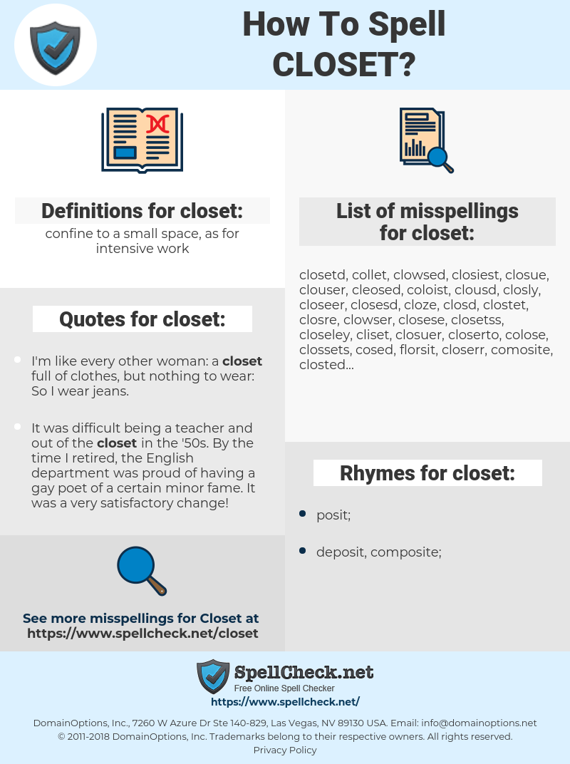 closet, spellcheck closet, how to spell closet, how do you spell closet, correct spelling for closet