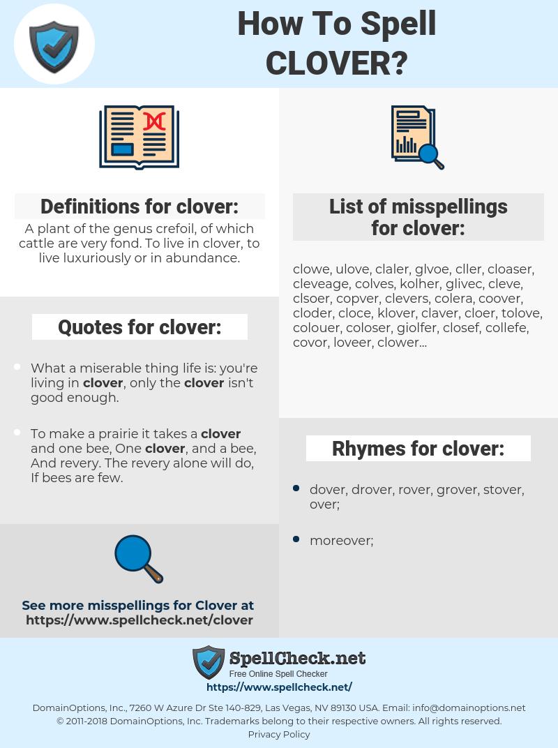 clover, spellcheck clover, how to spell clover, how do you spell clover, correct spelling for clover