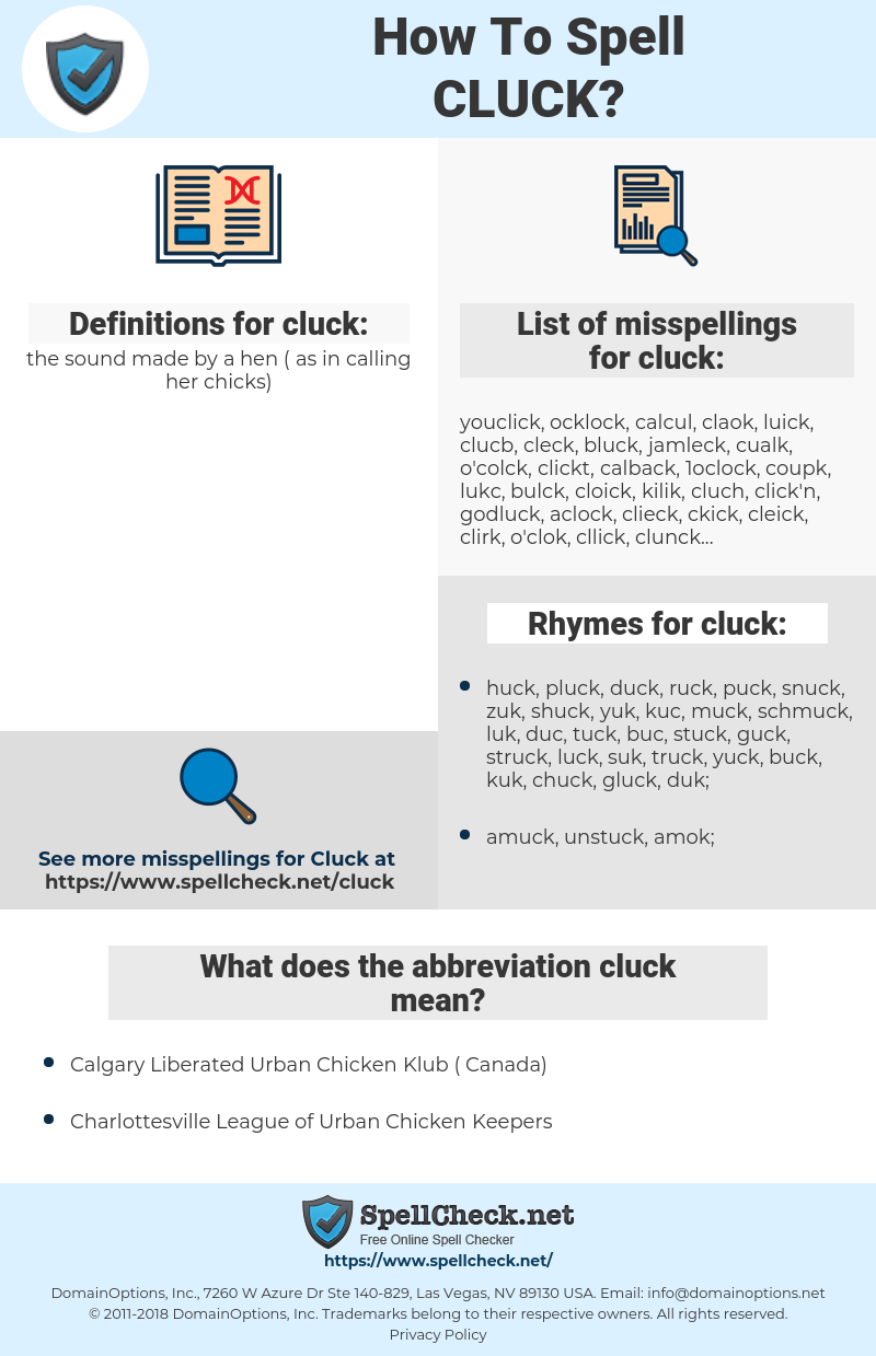 cluck, spellcheck cluck, how to spell cluck, how do you spell cluck, correct spelling for cluck