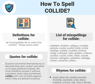 collide, spellcheck collide, how to spell collide, how do you spell collide, correct spelling for collide