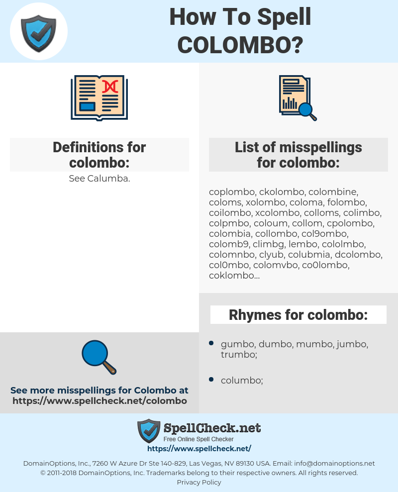 colombo, spellcheck colombo, how to spell colombo, how do you spell colombo, correct spelling for colombo