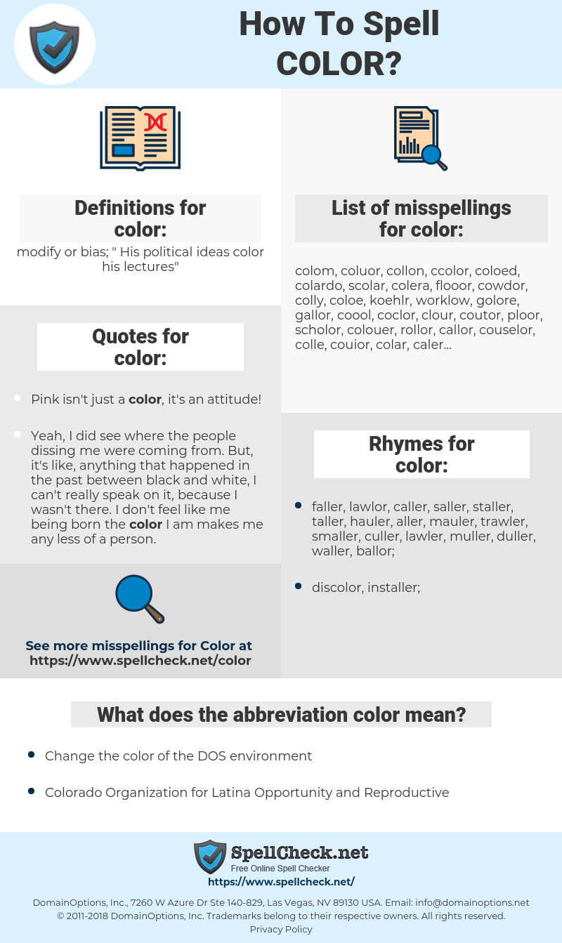 color, spellcheck color, how to spell color, how do you spell color, correct spelling for color