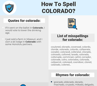 colorado, spellcheck colorado, how to spell colorado, how do you spell colorado, correct spelling for colorado