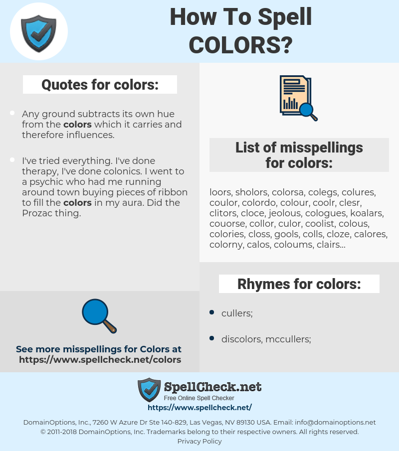 colors, spellcheck colors, how to spell colors, how do you spell colors, correct spelling for colors