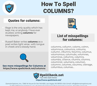columns, spellcheck columns, how to spell columns, how do you spell columns, correct spelling for columns