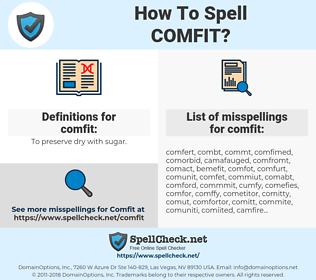 comfit, spellcheck comfit, how to spell comfit, how do you spell comfit, correct spelling for comfit