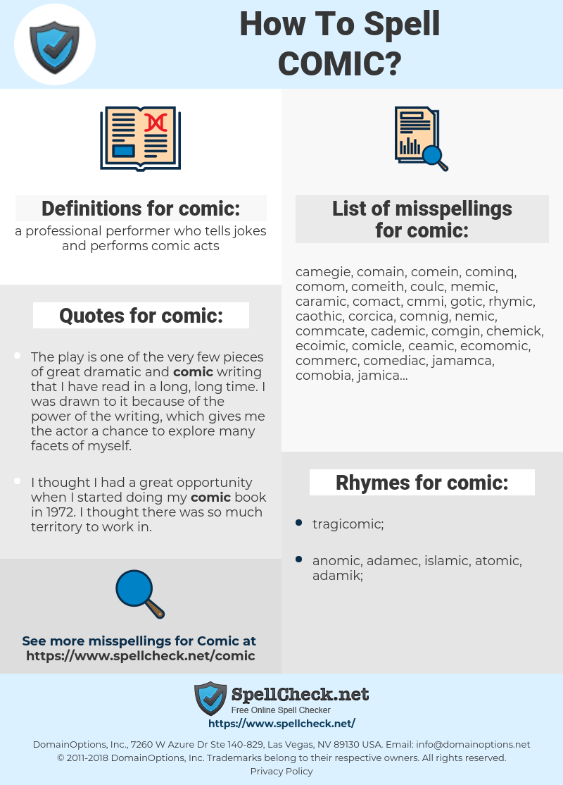comic, spellcheck comic, how to spell comic, how do you spell comic, correct spelling for comic