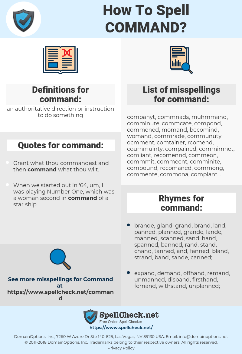 command, spellcheck command, how to spell command, how do you spell command, correct spelling for command