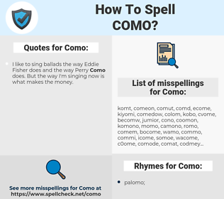 Como, spellcheck Como, how to spell Como, how do you spell Como, correct spelling for Como