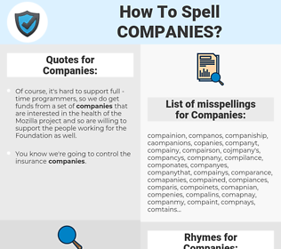 Companies, spellcheck Companies, how to spell Companies, how do you spell Companies, correct spelling for Companies
