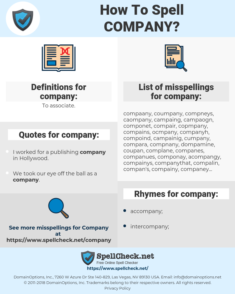 company, spellcheck company, how to spell company, how do you spell company, correct spelling for company