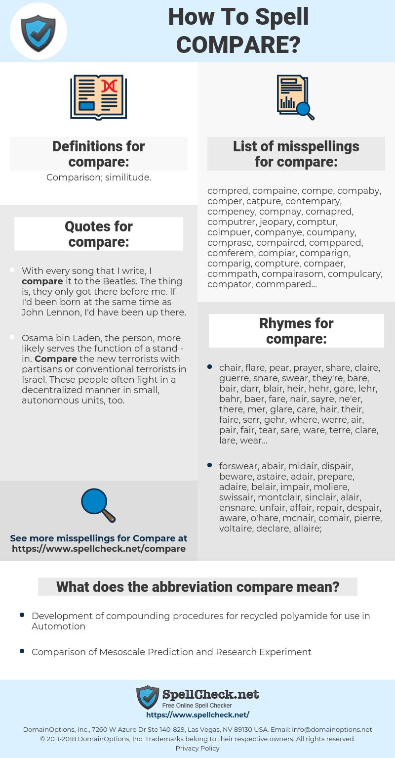 compare, spellcheck compare, how to spell compare, how do you spell compare, correct spelling for compare